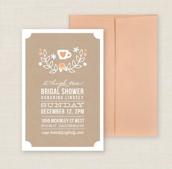 Printable Tea Party Bridal Shower Invitation - Invite for bachelorette - Craft Paper Style - PDF. $16.00, via Etsy.