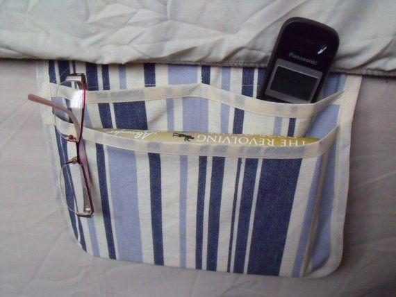 bed caddy bed pocket storage organizer blue by FingerPrickingGood