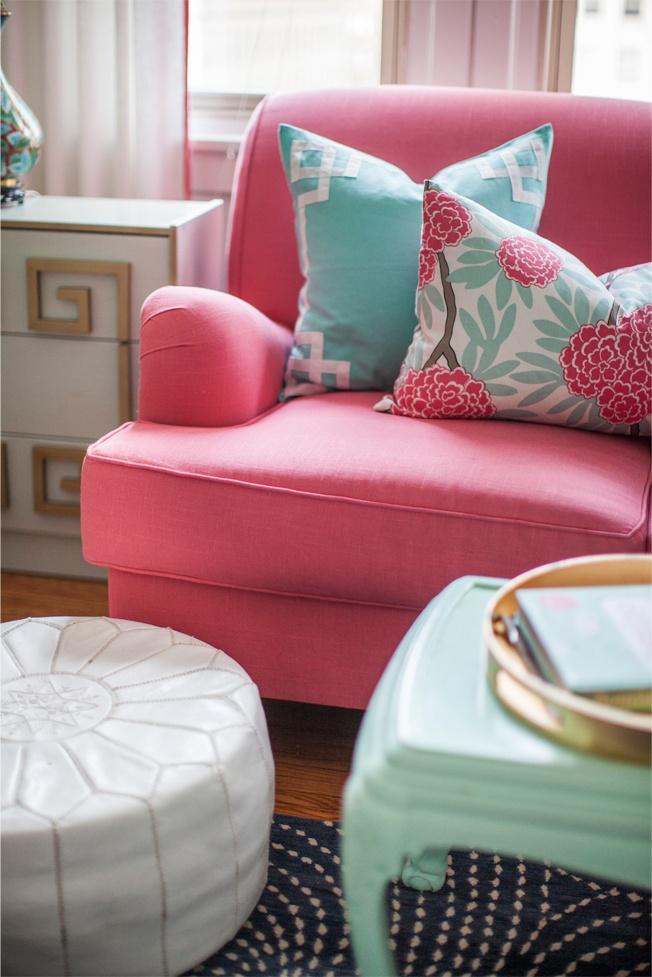 Interior and textile designer caitlin wilson pink couch - Sofa azul turquesa ...