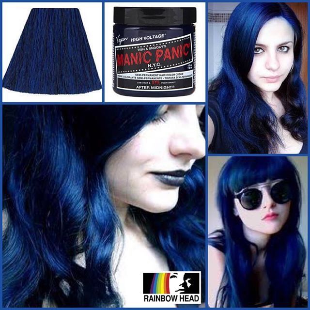 Manic panic after midnight blue on black hair