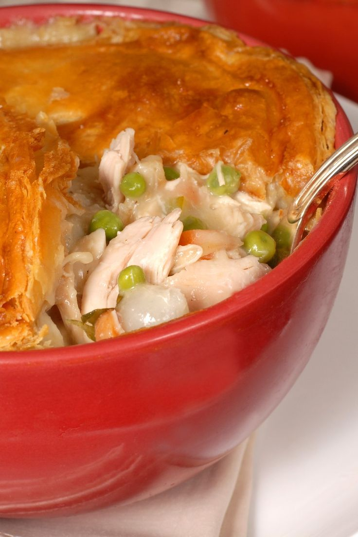Recipe including course(s): Entrée; and ingredients: baking mix, boneless, skinless chicken breast, cream of mushroom soup, egg substitute, skim milk, vegetables