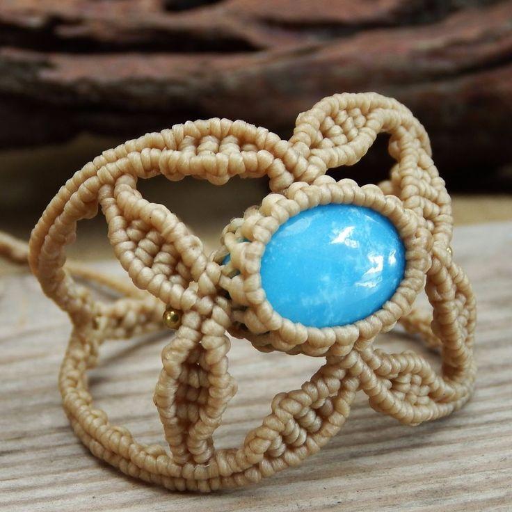 Macrame Bracelet Shamballa Cabochon Turquoise Waxed Cord Handmade Handwoven #Handmade #Wrap
