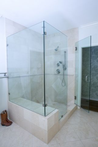 Want to Add Bench, Door & Shower for Bathroom Design? -  Free Standing Shower,  Restriction Free,  Frameless Shower Doors,  Stone Shower Bench &  Removable Shower Head