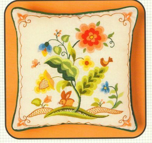 Vintage bucilla bunny quot jacobean floral crewel embroidery kit