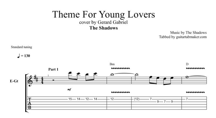 The Shadows - Theme For Young Lovers guitar TAB - instrumental guitar TAB