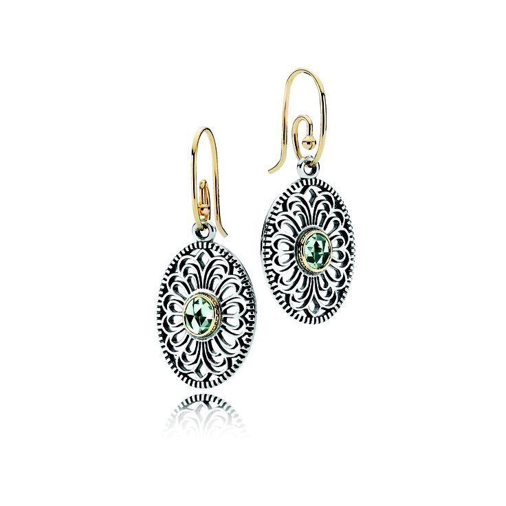 #PANDORA sterling silver earring pendants with 14 carat gold and green gemstone RRP $299 and 14 carat gold earring hooks RRP $199