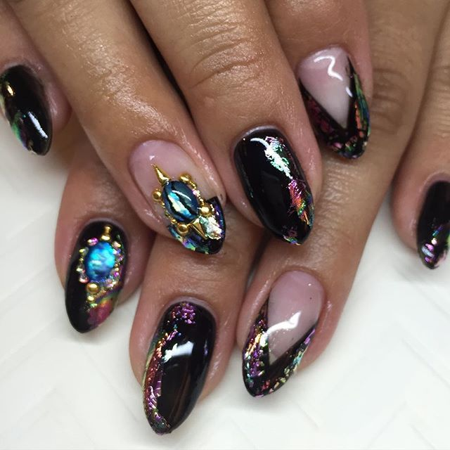 Black & rainbow foil for Dena ✨ #nails #nailart #gelnails #sparklesf #sparklesf #naturalnails #foils