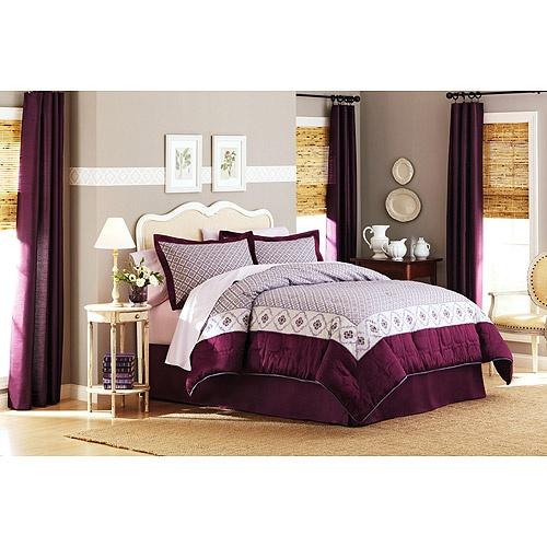 better homes and garden quatrefoil comforter set purple ivory
