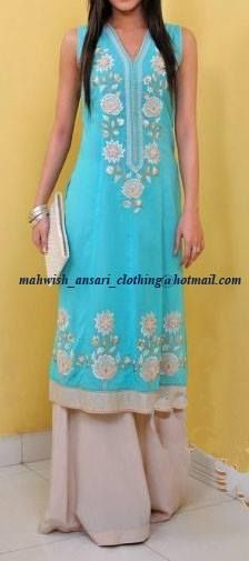 Blue chiffon georgette shirt with light grey palzoo pants .to order this dress email us at the given address on the image or join our facebook page