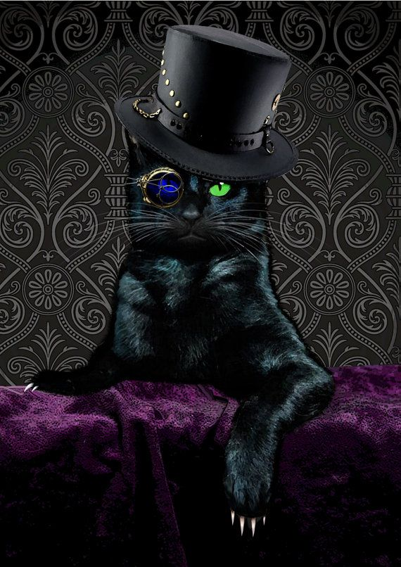 STEAMPUNK CAT The Ripper A4 Digital Print Choice of by BlueCatMum, £4.50