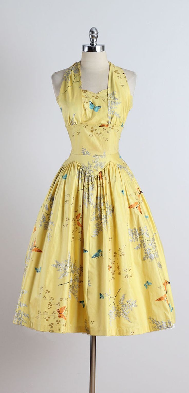 Vintage 1950s Butterfly Print Halter Dress