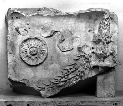Arachne - Individual object 40498: Relieffragment mit Patera und Feston - Rom, Musei Capitolini, Centrale Montemartini. Dai Santi Apostoli.