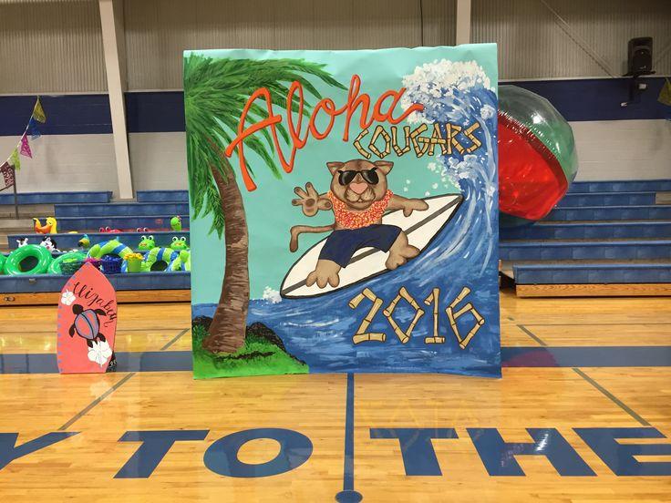 Hawaiian Themed Pep Rally 8 26 16 Gym Decorations Pep Rally Themes School Spirit Posters Pep Rally