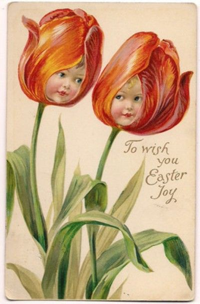 Tulip Faces, Easter Greeting, 1910 Fantasy Postcard (04/11/2012)