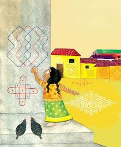 "International Literacy Day was celebrated in India this year (Sept. 8th 2015) with a story called, ""Susheela's Kolams"", about a girl who loves Kolams (a form of painting with rice powder/chalk) and dreams big."