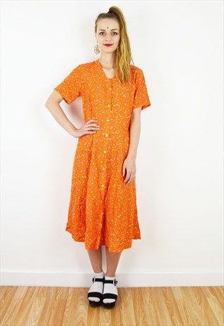 90's+Orange+Ditzy+Floral+Summer+Midi+Dress+