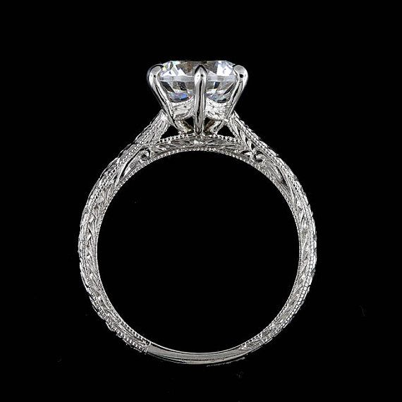 Six Prongs Engraved Crafted Milgrain 14k White Gold Proposal Engagement Ring Mounting Setting To Fit 6.5mm Round Stone