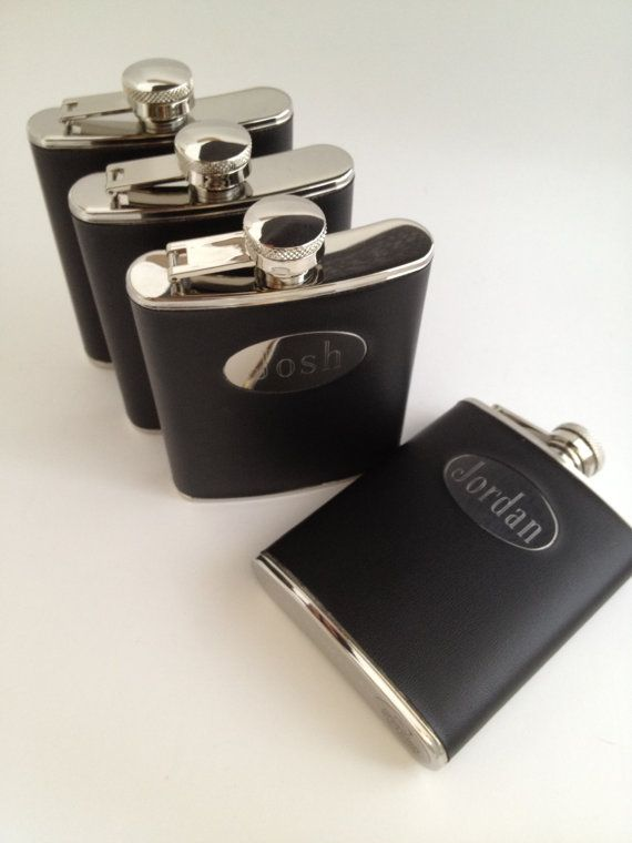 Four Black Wrapped Flask Engraved for Groomsmen by netexchange, $85.00