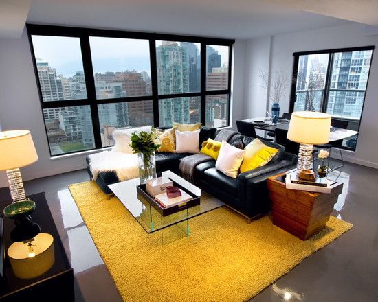 Gray And Yellow Living Room Ideas Contermporary Home Black Leather Sofa Carpet