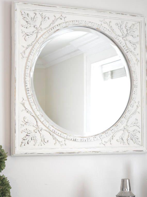 b06a73bf9c90 Carolina Mirror Vintage - White Distressed on Gold Round Mirror with ...