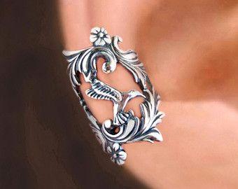 Spring Leaf ear cuff Sterling Silver earrings Leaf by RingRingRing