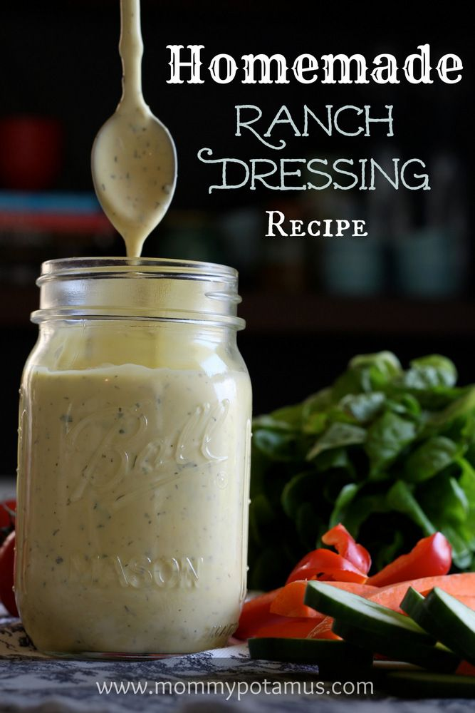 Homemade Ranch Dressing Recipe from Mommypotamus! #ranch #dressing #salad #homemade #recipe
