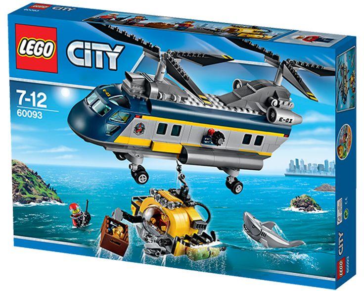 LEGO CITY 60093 Dybhavs-helikopter Konstruktionssæt med LEGO klodser: CITY Dybhavs-helikopter (60093)Hjælp! Dybhavsudforskerne i ubåden bliver angrebet af en haj â og de har brug for din hjælp! Spring ind i den seje dybhavs-helikopter, spin de kraftige rotorer, og drøn ud over havet med hæsblæsende fart! Når du når frem, skal du sænke kranspillet, fange ubåden med krogen, og flyve tilbage til land. En helt almindelig arbejdsdag for en ægte LEGO CITY helikopterhelt! Indeholder 3 minifigurer…