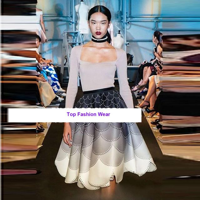 HIGH QUALITY New Fashion 2016 Designer Runway Suit Set Women's Square Collar Knitting Top + Gradient Color Petal Skirt Set US $76.49 To Buy Or See Another Product Click On This Link  http://goo.gl/yekAoR
