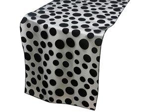 21 best velvet polka dots table runner images on pinterest for Black polka dot tablecloth
