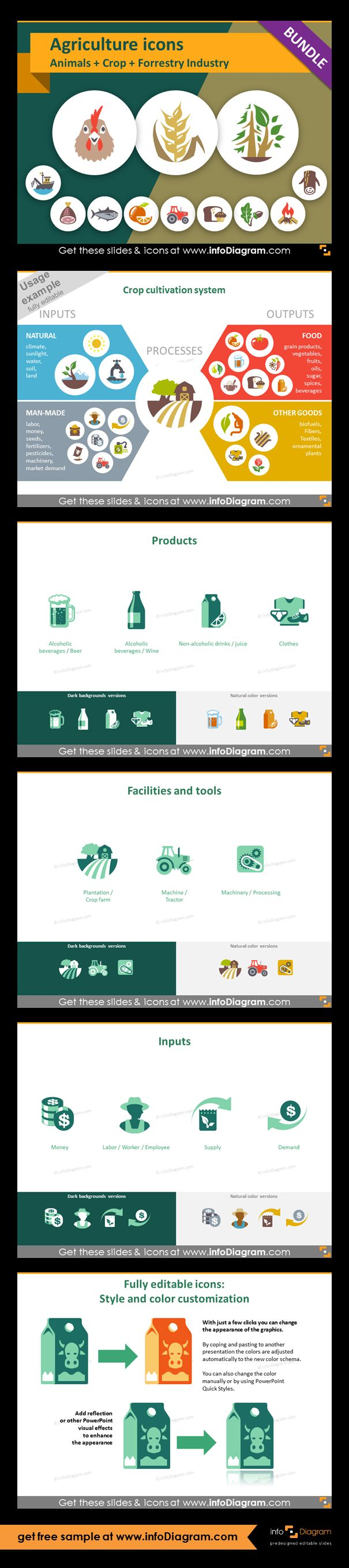 Food and Agriculture icons: Animals, Crop Cultivation, Forestry. All symbols in simple flat style, suitable for Metro UI style graphics. Icons provided in 5 versions. Graphic presenting crop cultivation process with icons of inputs and outputs. Product icons of crop agriculture:  beer, wine, juice, clothes. Facilities and tools of fruit, vegetables crop agriculture: plantation, tractor, machinery. Agriculture inputs: money, worker, supply, demand. Example of icons editing.