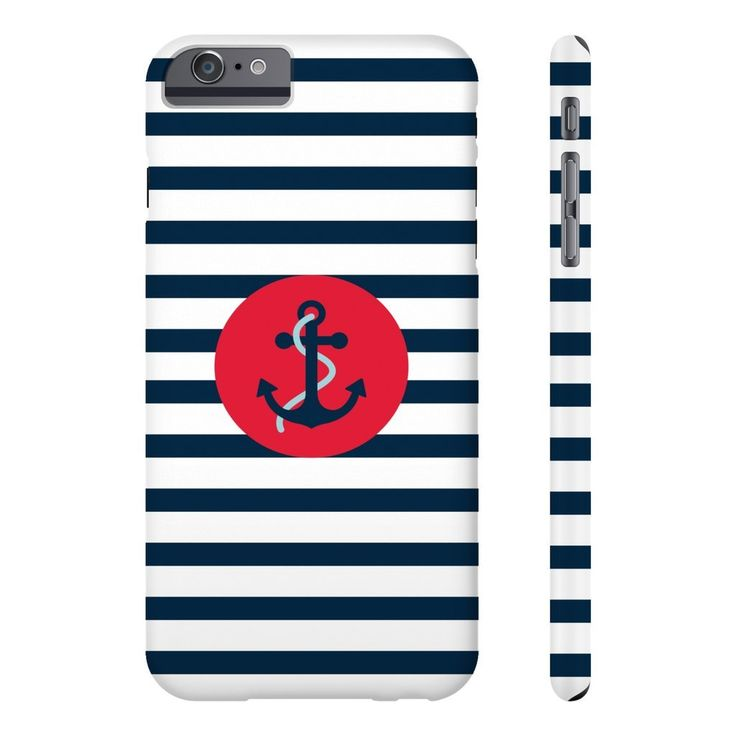 Navy Striped Anchor Phone Case