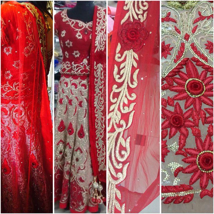 Red and gold custom bridal @redpaisleys