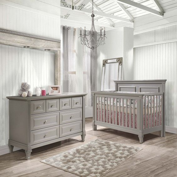 Natart Belmont 2 Piece Nursery Set In Stone Grey Crib And Double