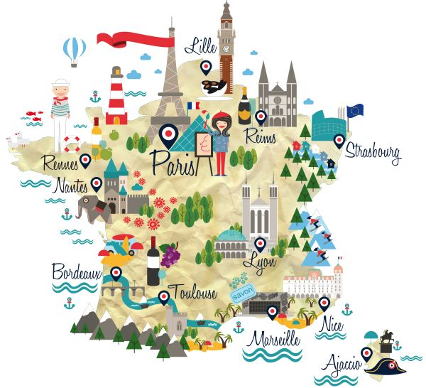Map of France for French language course - Chiara Alduini