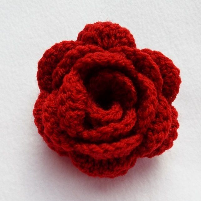 Hair pony tail band with large dark red crochet rose flower hair bobble hair tie £1.50