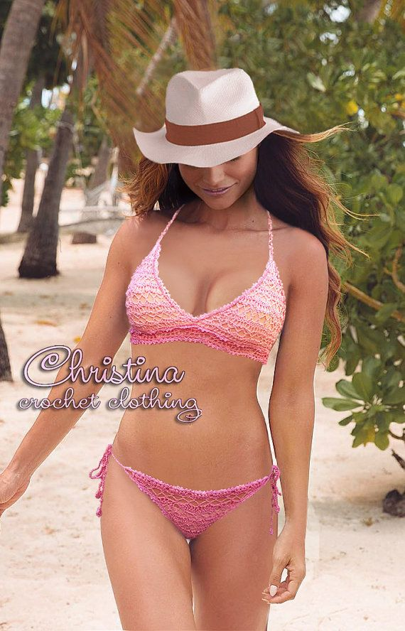 Crochet lace bikini top and bottom set swimsuit rose pink FREE SHIPPING