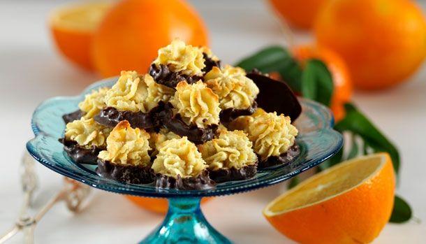 Orangetoppe med marcipan og chokolade