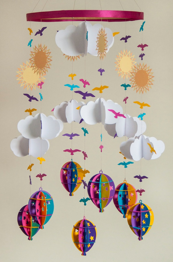 SALE  Hot Air Balloon Mobile in Pink, Blue, Purple and Yellow. £35.00, via Etsy.