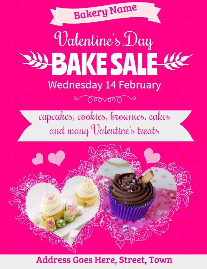 Printable Valentine S Day Bake Sale Flyer Template With Images
