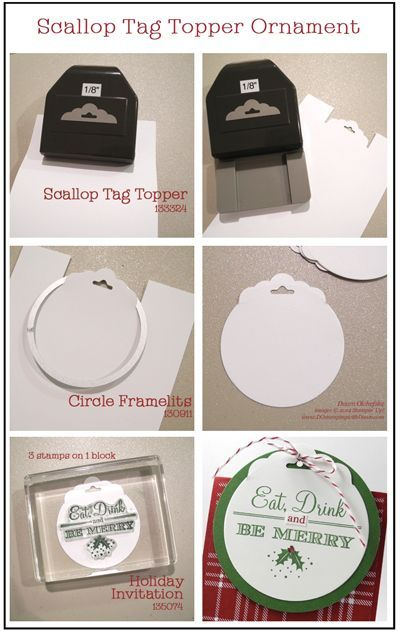 Scalloped tag topper ornaments