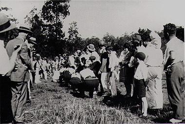 """Tug-of-war at a police picnic at """"Fairyland"""", Lane Cove River, 1930s"""