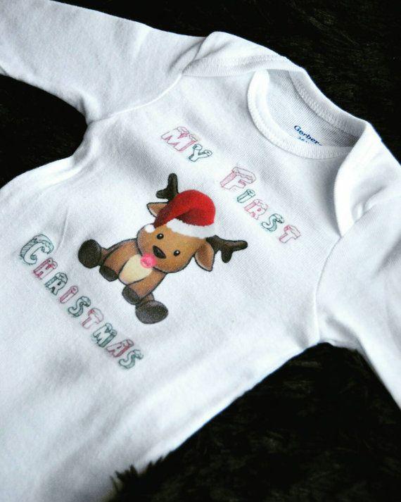 Baby's first christmas onesie - My first christmas onesie- christmas onesie- holiday onesie-reindeer onesie