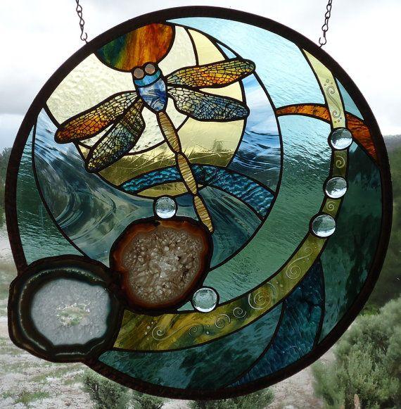 stained glass window panel DRAGONFLY BLUES by ZuniMountainArtGlass
