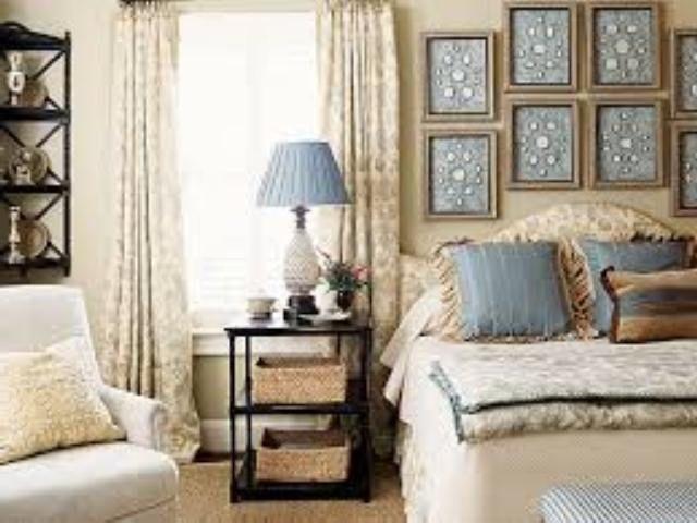 mavi beyaz yatak odası dekorasyon örnekleri