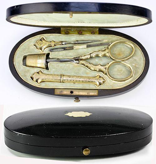 Античные викторианской французские Стерлинг Vermeil Швейные инструменты, вышивка Etui, полный