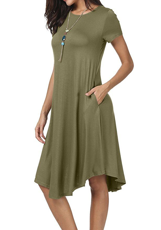 4a2f15fd26 levaca Women Knit Draped Swing Loose Casual Tunic Knee Length Army Green XS