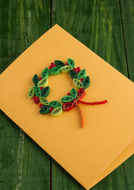 Festive Christmas wreath greeting card by vanilllas on Etsy, €4.00