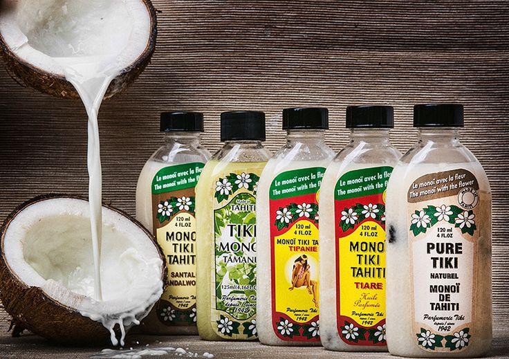 Tahitański sekret piękna w butelce! Oleje Monoi Tiki z Tahiti o cudownym zapachu egzotycznych kwiatów. Naturalna moc oleju kokosowego.