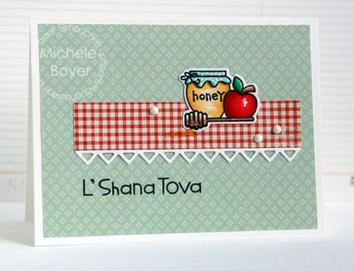 L'Shana Tova card by Michele Boyer for Paper Smooches - Kibitzing Two, Kibitzing Icons dies and Borders 3