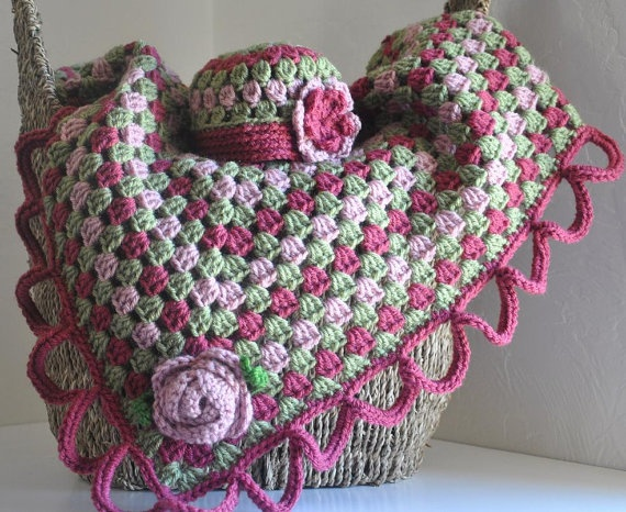 Granny Square Baby Blanket w/ Roses Hat Set